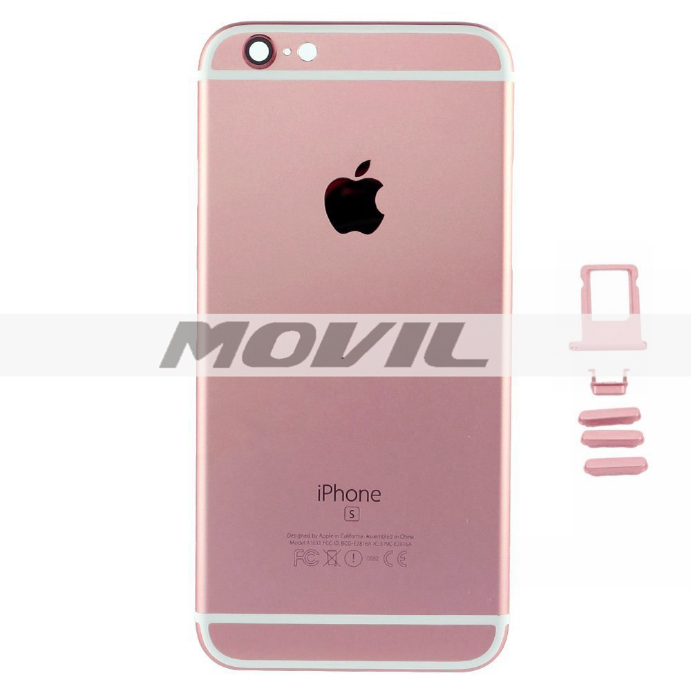 Battery Housing Door Back Cover Cell Phone Replacements for iPhone 6 4.7 inch Change to iPhone 6s Style - Rose Gold with White