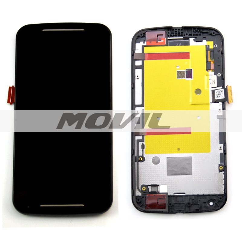 Black For Motorola Moto G2 XT1063 XT1064 XT1068 LCD Touch Screen with Digitizer Frame Full Assembly