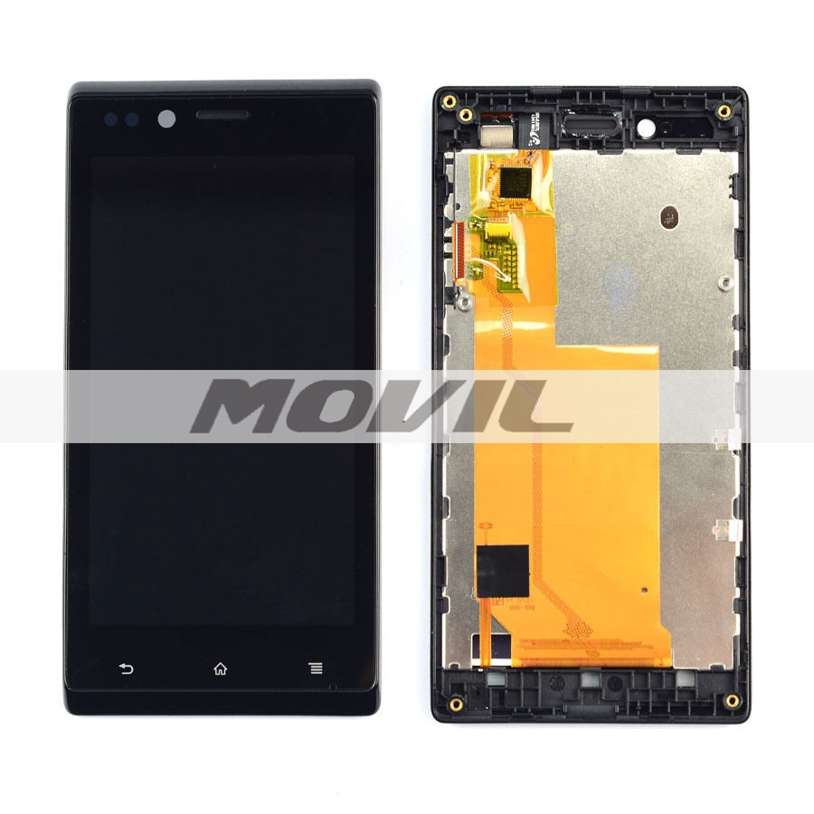 Black LCD Display + Touch Screen Digitizer Assembly +Frame For Sony Xperia J ST26 ST26i ST26a