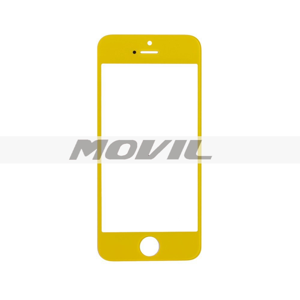 Color Front Screen Glass Lens Repair Replacement for iPhone 5 5S 5C (Yellow)