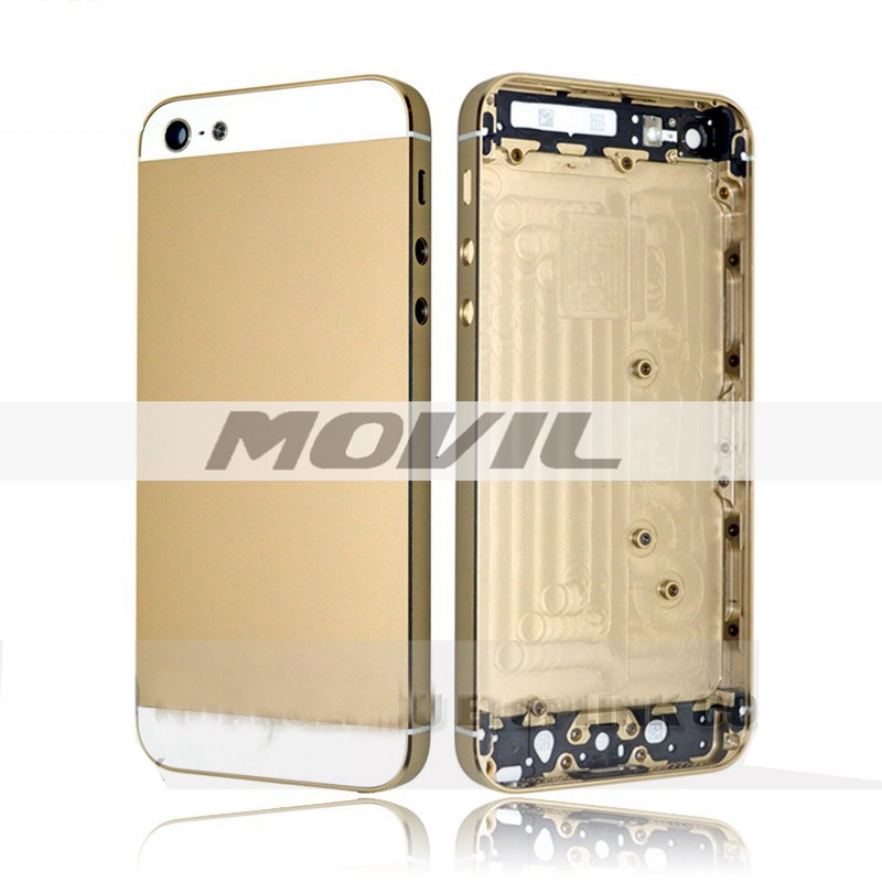 For iPhone 5 like iPhone 5S back cover Gold Color Battery Cover Assembly Middle Frame Metal Housing door