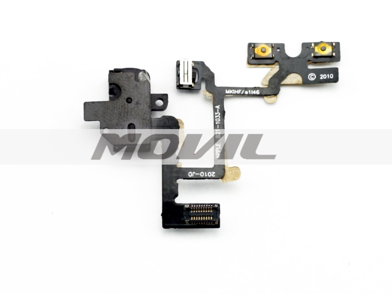 Headphone Audio Jack Power Volume Switch Flex Cable for Apple iPhone 4 4G -Black