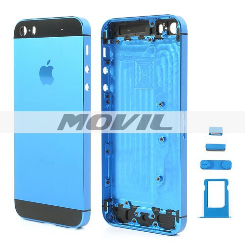 High Quality Full Housing Faceplates w Buttons SIM Card Tray for iPhone 5s - Black  Dark Blue