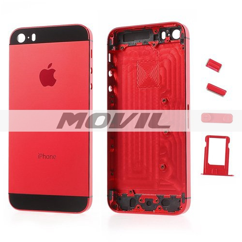 High Quality Full Housing Faceplates w Buttons SIM Card Tray for iPhone 5s - Black  Red