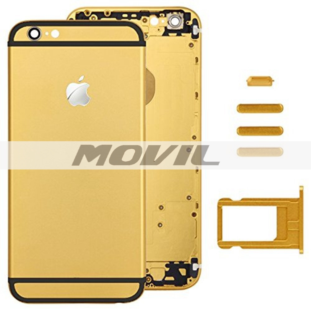 Housing Door Back Cover Mobile Phone Housing Cell Phone Replacements for iPhone 6 4.7 inch - Golden with Black Strap