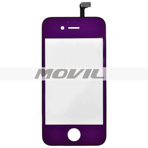 Multicolour LCD Front Touch Screen Glass Lens Flex Cable Digitizer wFrame Replacement for iPhone 4S (Purple)