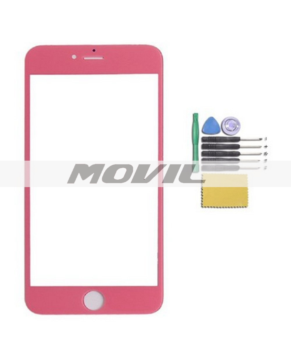 Novelty Candy Color Front Screen Glass Lens Repair Replacement for iPhone 6 plus 5.5 (pink)