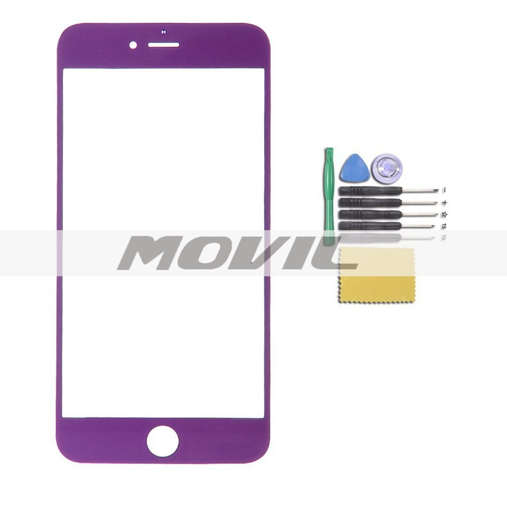 Novelty Candy Color Front Screen Glass Outer Lens Repair Replacement for iPhone 6 plus 5.5 (Purple)