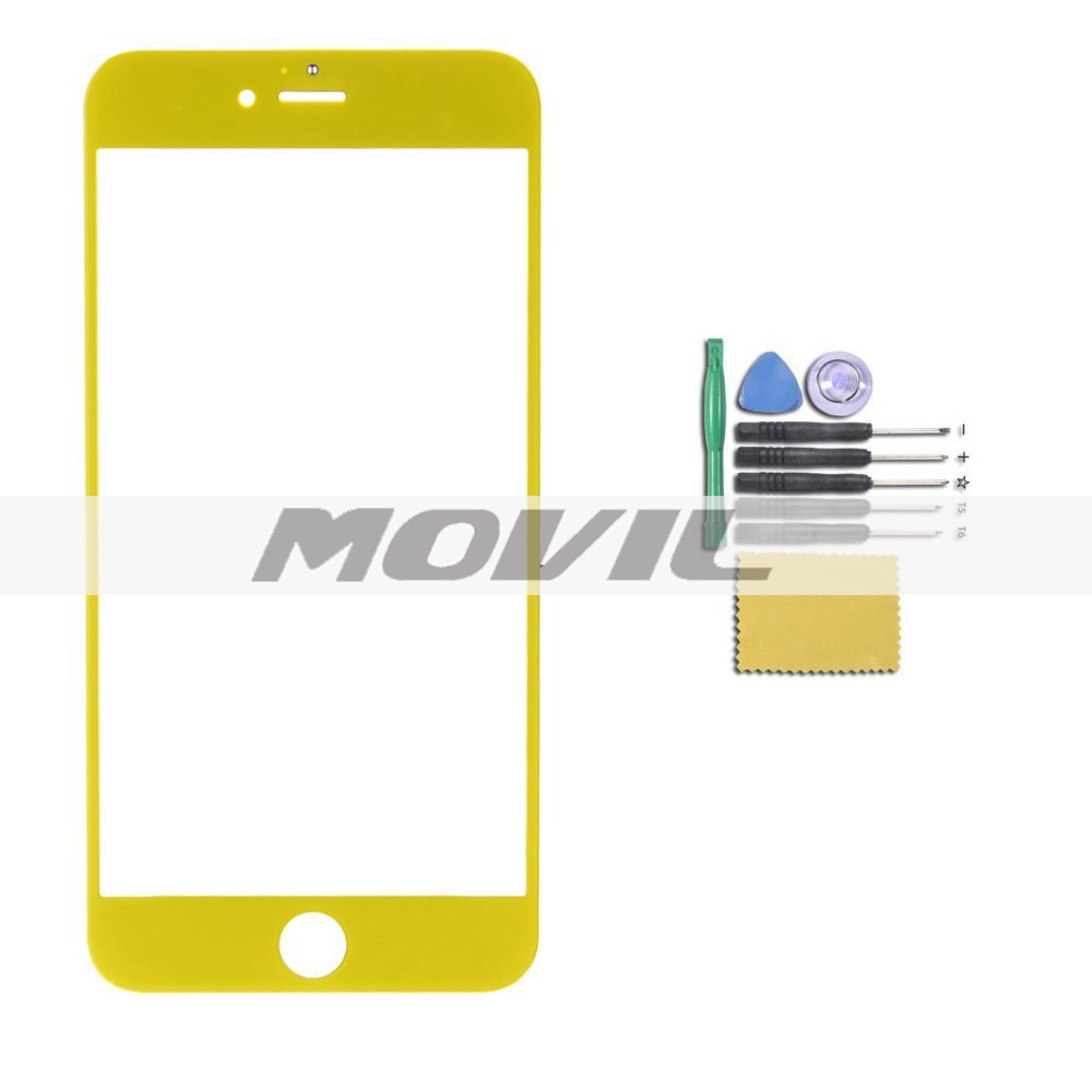 Novelty Candy Color Front Screen Glass Outer Lens Repair Replacement for iPhone 6 plus 5.5 (Yellow)