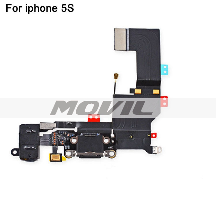 Original Parts For iphone 5S Charging Port Dock Connector With Headphone Audoi Jack Flex Cable Ribbon Replacement