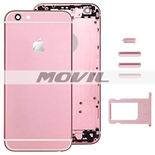 Pink Full Housing Back Cover with Card Tray & Volume Control Key & Power Button & Mute Switch Vibrator Key Replacement for Apple iPhone 6