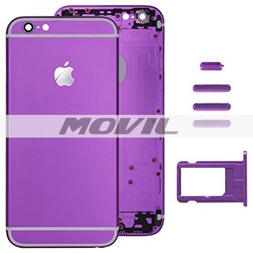 Purple Full Housing Back Cover with Card Tray & Volume Control Key & Power Button & Mute Switch Vibrator Key Replacement for Apple iPhone 6