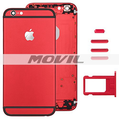 Red Full Housing Back Cover with Card Tray & Volume Control Key & Power Button & Mute Switch Vibrator Key Replacement for Apple iPhone 6