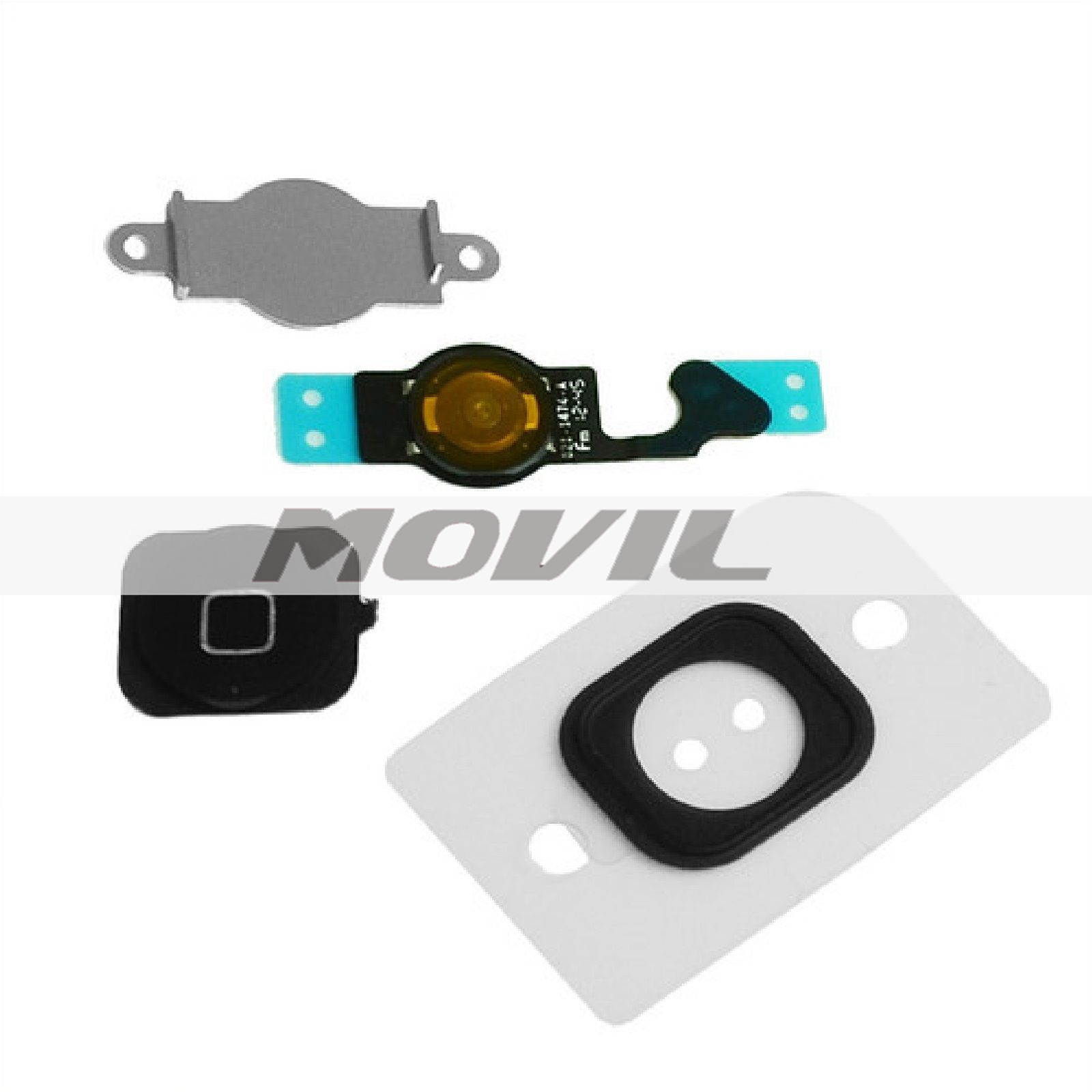 Replacement Black Home Button With Flex Cable Seal & Bracket For iPhone 5