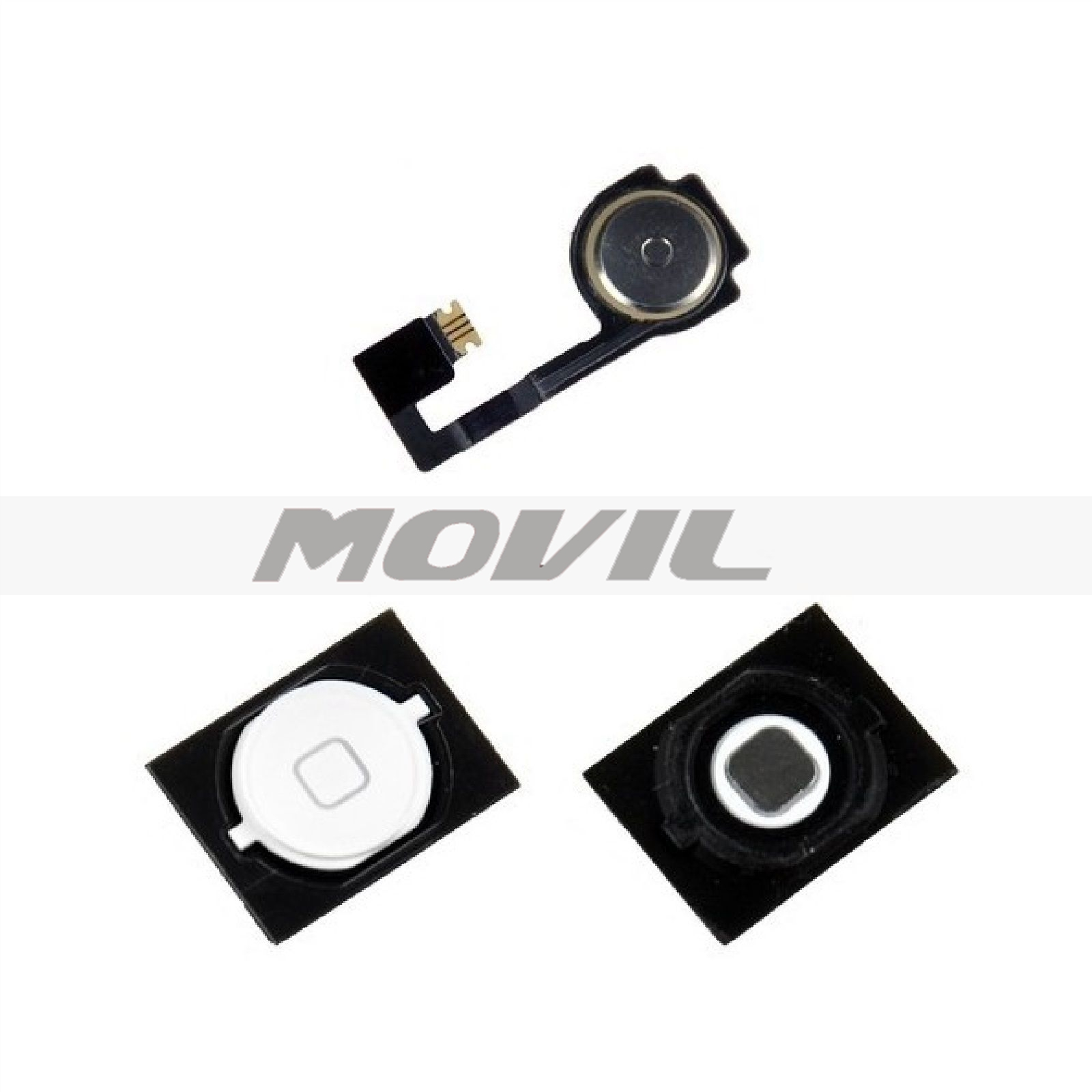 Replacement White Home Button With Flex Cable Seal  Spacer For iPhone 4S