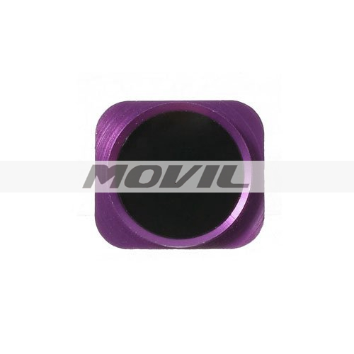 Replacement iPhone 5  5C Metal Imitation Touch-ID Home Button Key (Black with Pink Ring)