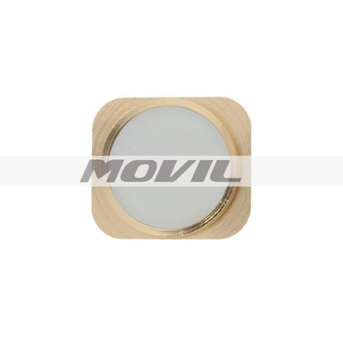 Replacement iPhone 5  5C Metal Imitation Touch-ID Home Button Key (White with Gold Ring)