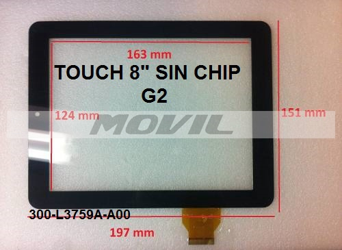 Touch tactil para tablet flex 8 inch SIN CHIP G2 300-L3759-A00