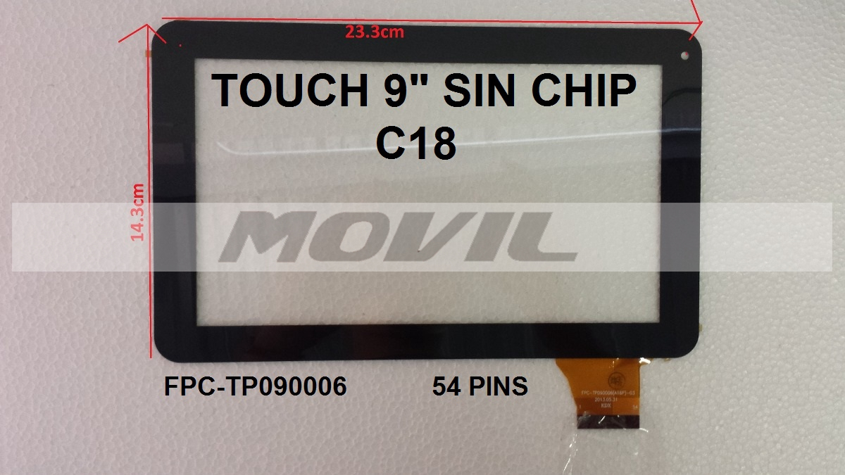 Touch tactil para tablet flex 9 inch SIN CHIP C18 FPC-TP090006 54PINS