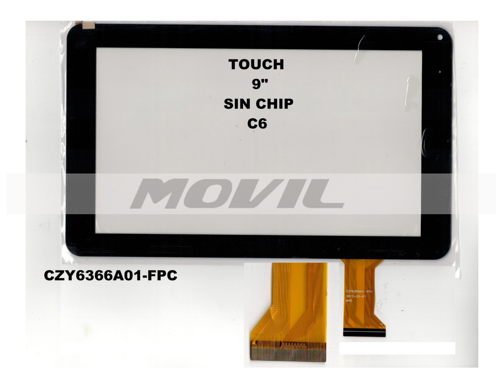 Touch tactil para tablet flex 9 inch SIN CHIP C6 CZY6366A01-FPC