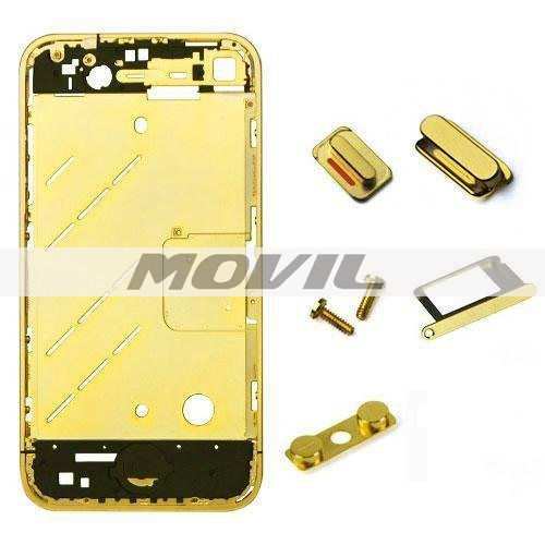 iPhone 4G GSMAT&T GOLD Empty Plated Mid Middle Frame Bezel Chassis Replacement with Buttons Kit