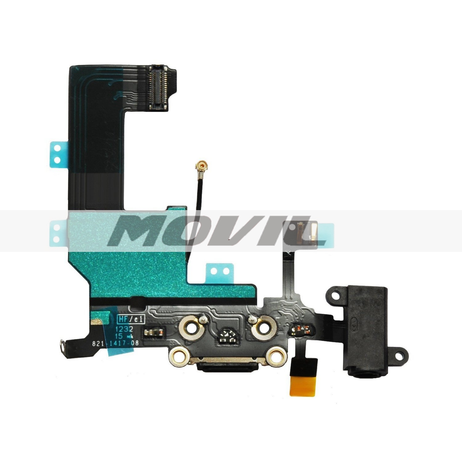 iPhone 5C Black Charger Port Dock Connector Flex Cable With Head Phone Audio Jack USB Port Charging port