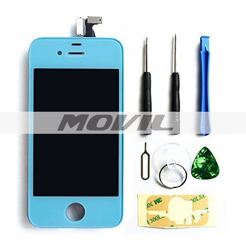 iPhone4S screen replacement repair parts kit Full Front Glass light blue