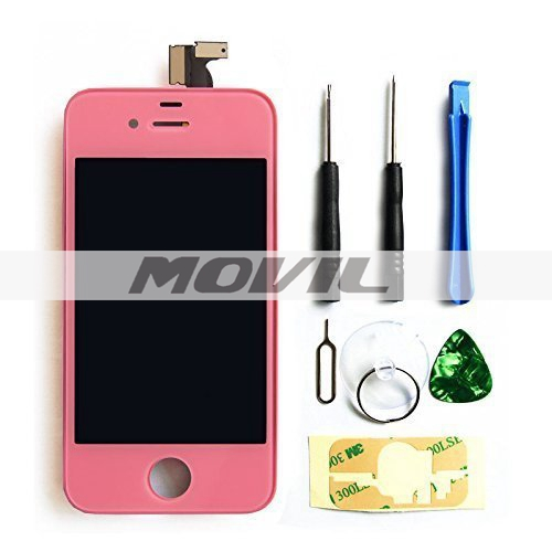 iPhone4S screen replacement repair parts kit Full Front Glass pink